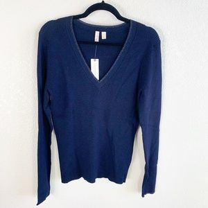 Anthro Moth Navy Blue Ribbed V-Neck Sweater NWT